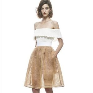 Self Portrait Bardot Off-Shoulder Midi Dress